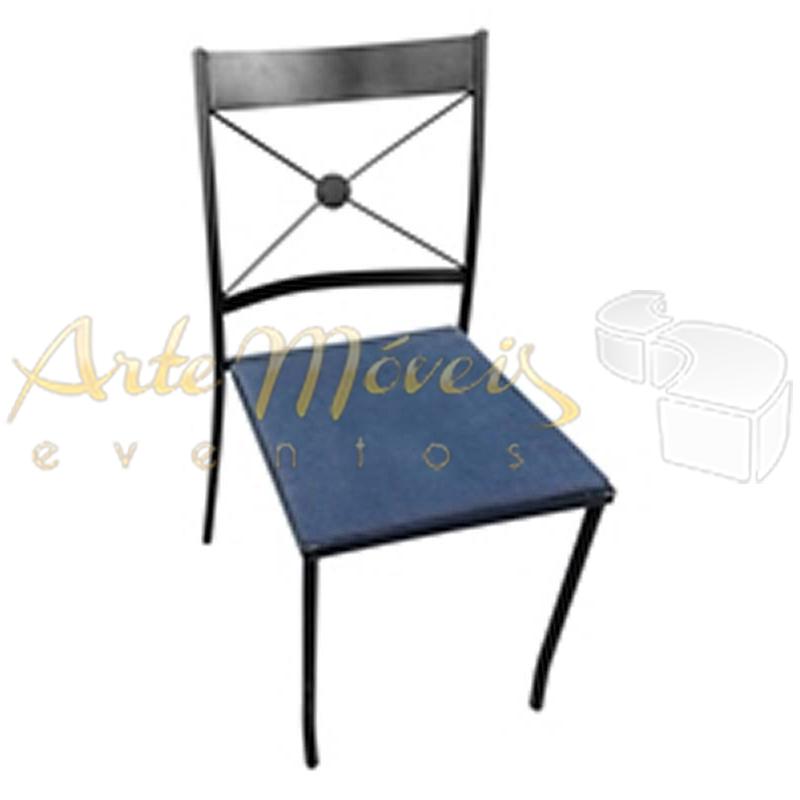 Cadeira de Ferro Preto com Assento Preto