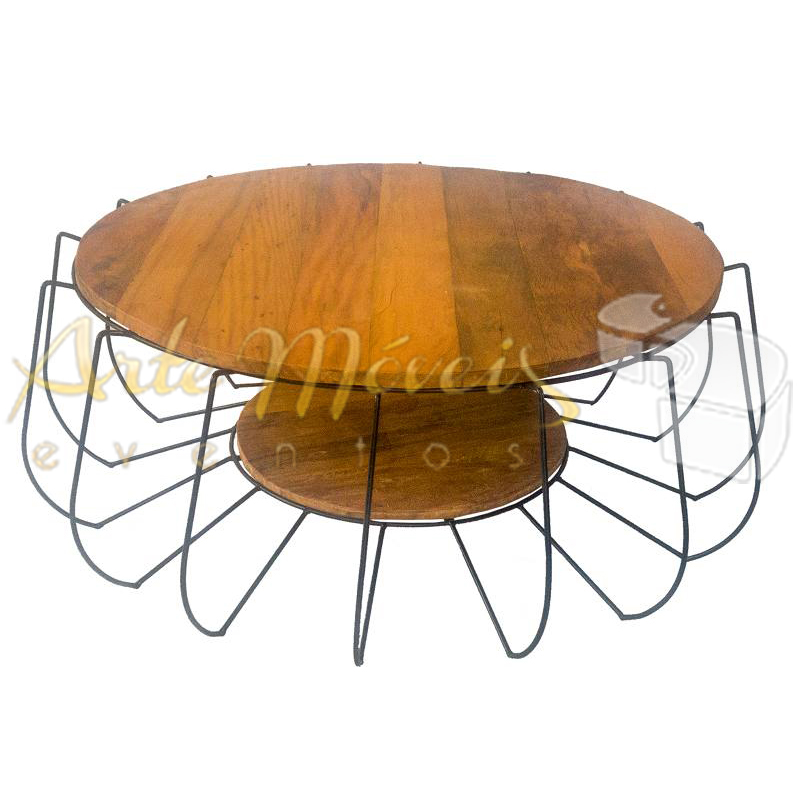Mesa de centro spider redonda com 1m