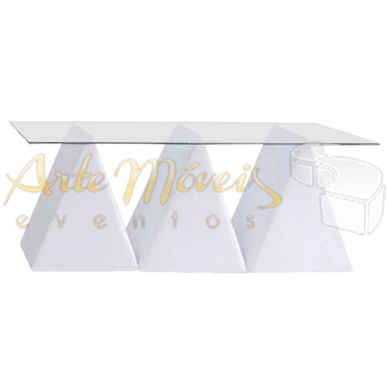 Mesa buffet 1,80m x 0,90m vidro com bases triângulos