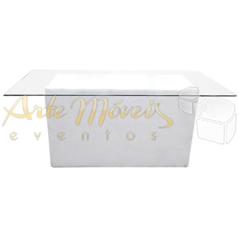 Mesa buffet 1,80m x 0,90m vidro com base retangular