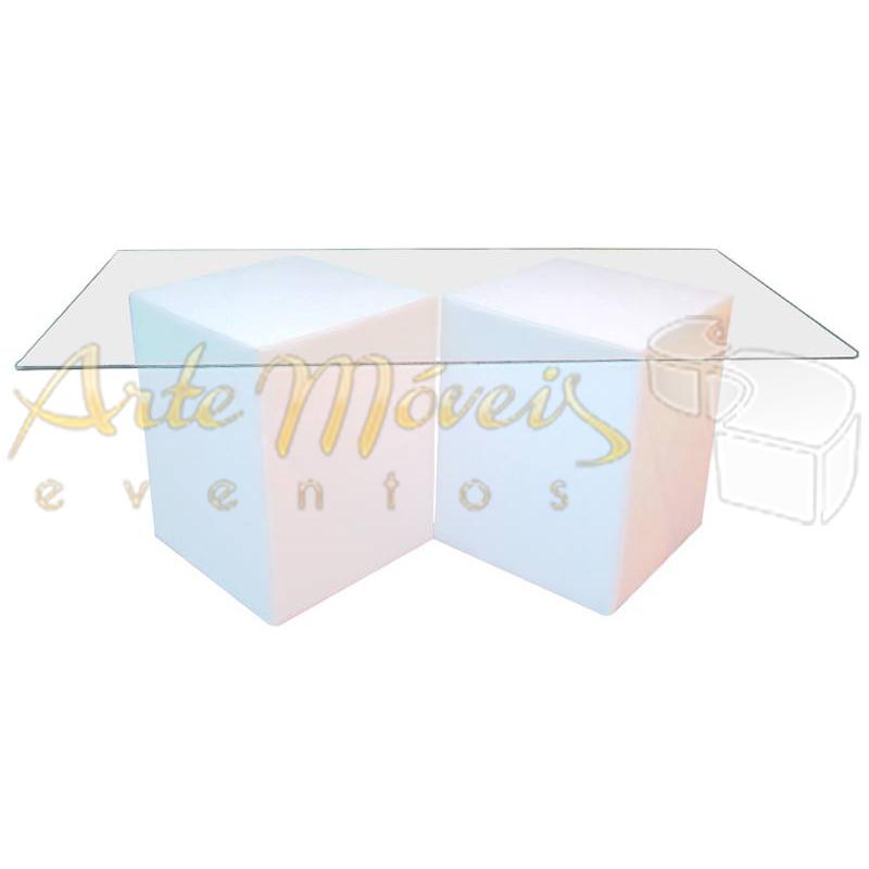 Mesa buffet 1,80m x 0,90m vidro com bases quadrada