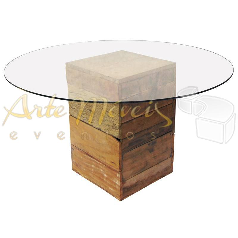 Mesa convidados 1,40m com base rústica