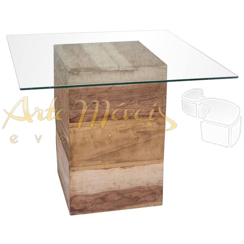 Mesa 1,00m x 1,00m com vidro e base rústica