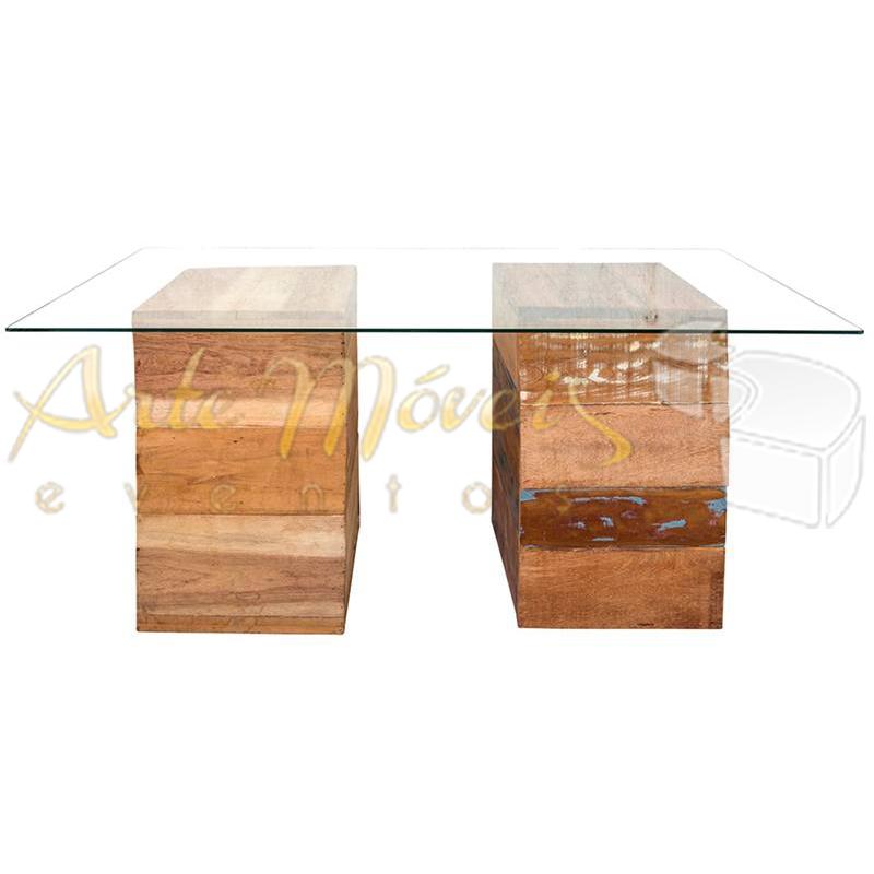 Mesa vidro com base rústica 1,80 x 0,90