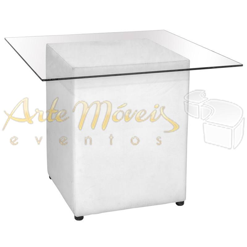 Mesa bolo vidro com base quadrada 1,00m x 1,00m