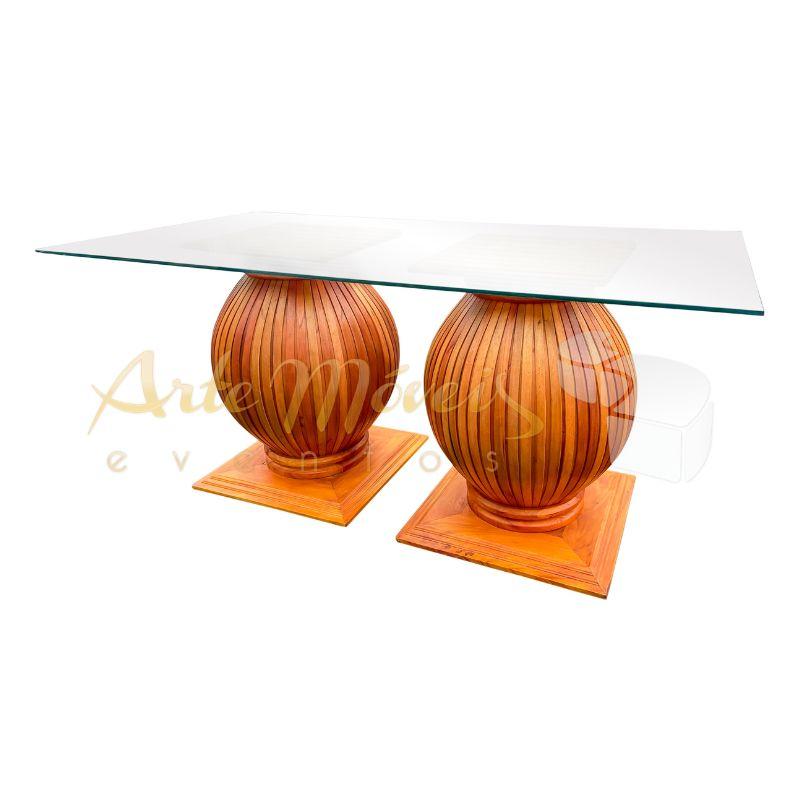Mesa Elegance com vidro 1,80 x 0,80