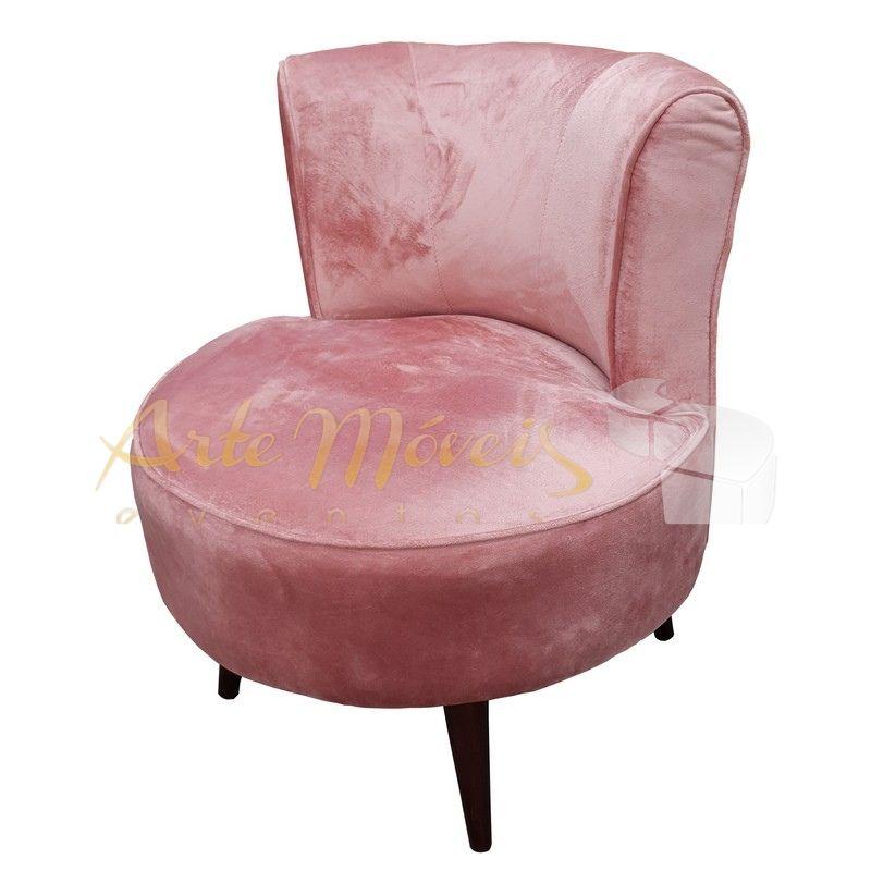 Poltrona Baby rosa em veludo