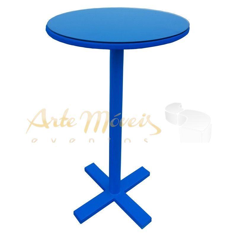 Mesa Bistrô Azul com Tampo de Vidro